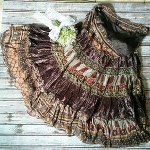 Lapis Brown Velvet Beaded Bohemian Skirt